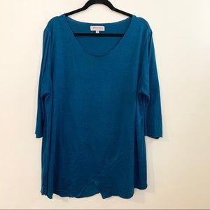 🌸PHILOSOPHY Teal Half Sleeve Scoop Neck Shirt 3X